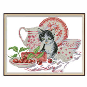 Cat and China -  DIY Cross Stitch Kits - idiypaint
