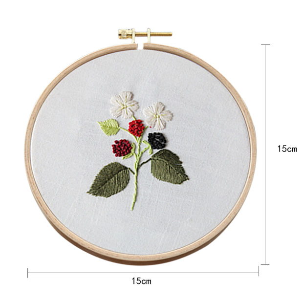 15 x 15cm DIY Counted Cross Stitch Embroidery Starter Kit with Hoop -   White - idiypaint
