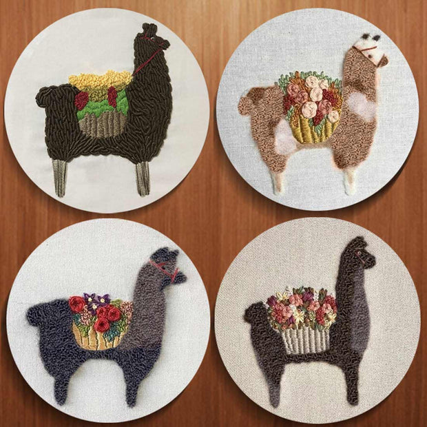 DIY Hand embroidery for beginners WIth 15 x 15cm Frame - Tall Alpaca