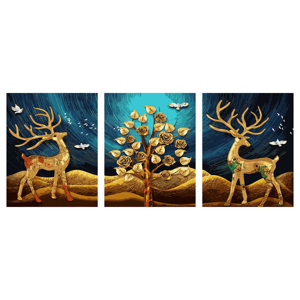 Golden Deer -3pcs 40 x 50cm DIY Painting by Numbers Sets with Frame for Home Decor - idiypaint