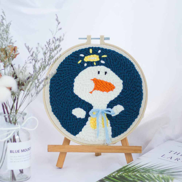DIY Punch Needle Kit Handcraft Creative Gift with Embroidery Frame - Duck