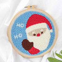 DIY Punch Needle Rug Hooking Kit Knitting Wool WIth 5cm Imitation Bamboo Embroidery  Frame-Santa Claus