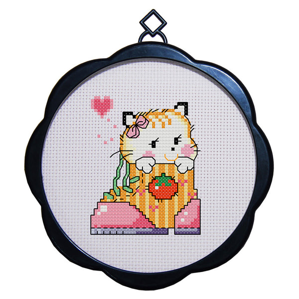 17 x 17cm 11CT 3 Strands Printing Embroidering DIY Cross Stitch Kits with Frame - Cat(Four) - idiypaint