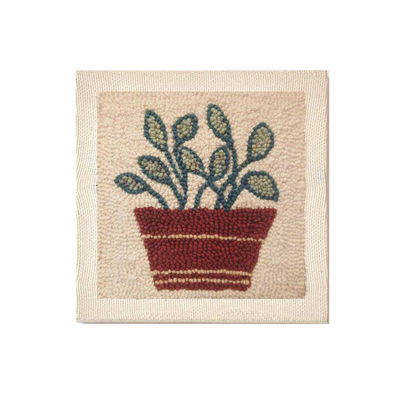 DIY Punch Needle Rug Hooking Kit Knitting Wool with 26 x 26cm Wooden Frame Punch Needle - Flowerpot - idiypaint