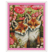 Two Little Foxes- DIY Cross Stitch Kits - idiypaint