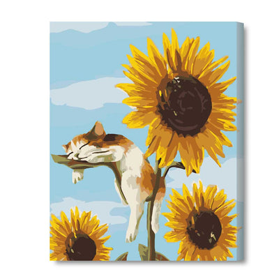 A Cat On The Sunflower-40*50cm DIY Paint by Numbers Kits with Frame for Wall Decoration - idiypaint