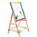 65cm Double Sided Magnetic Standing Art Writing Drawing Board with Whiteboard and Chalkboard for Children (Only Whiteboard with Weak Magnetic) - idiypaint