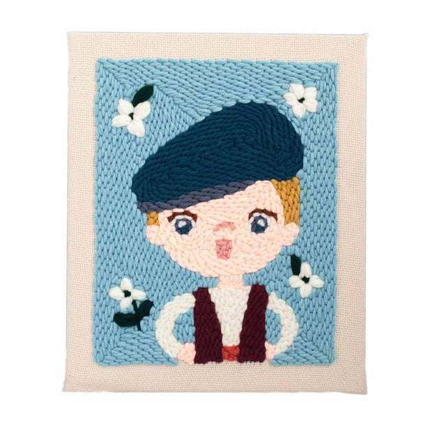 DIY Punch Needle Kit Handcraft Creative Gift with Embroidery Frame -Beret Kid