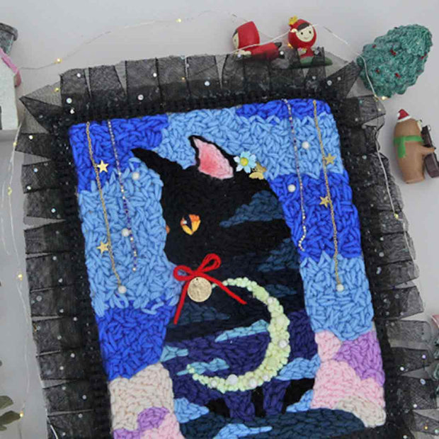 DIY Knitting Wool Rug Hooking Kit Handcraft Woolen Embroidery Creative Gift with Wooden Frame Poke Needle Bracket Light String (Only Decoration, Can't Shine) - Cat Forest
