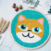 DIY Punch Needle Rug Hooking Kit Knitting Wool with  Embroidery Frame - Cat