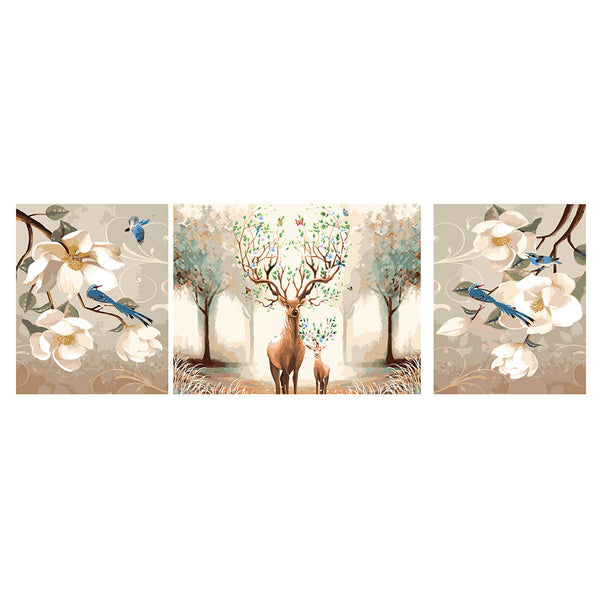 DIY Painting by Numbers Sets 3Pcs Elk& Birds 40 x 50cm - idiypaint