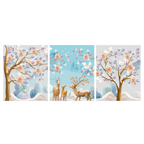 DIY Painting by Numbers Sets 3Pcs Elk in Winnter 40 x 50cm - idiypaint
