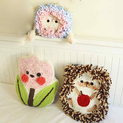 DIY Knitting Wool Rug Hooking Kit Handcraft Woolen Embroidery Creative Gift with Embroidery Frame Poke Needle