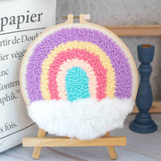 DIY Punch Needle Kit Handcraft Creative Gift with Embroidery Frame - Rainbow