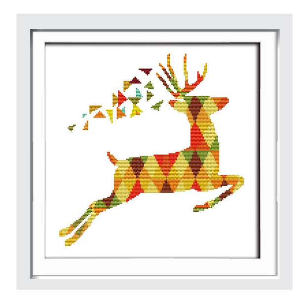 Colorful Deer-  DIY Cross Stitch Kits - idiypaint