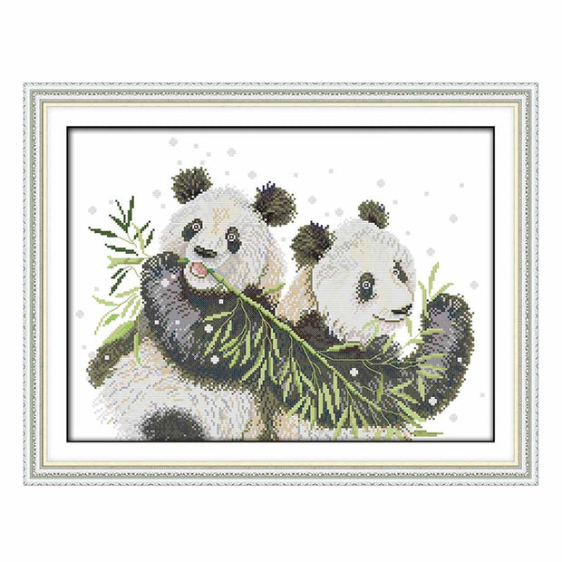 Two Pandas -  DIY Cross Stitch Kits - idiypaint