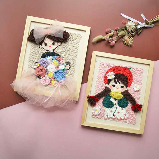DIY punch needle kit Handcraft Woolen Embroidery Creative Gift with 25 x 30cm Wooden Frame