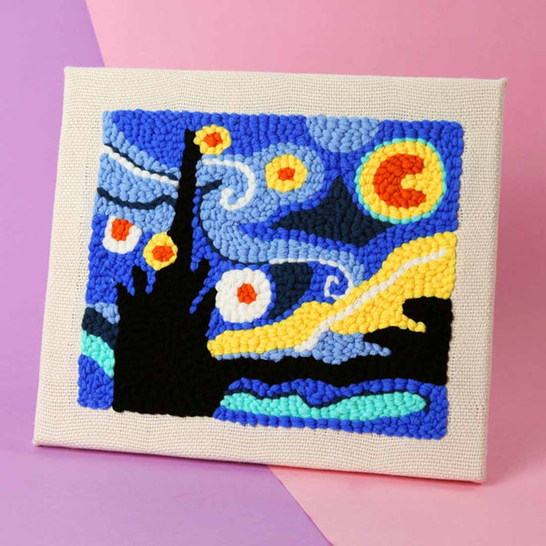 The Starry Night DIY Rug Hooking Punch Needle Embroidery Hand Craft - idiypaint