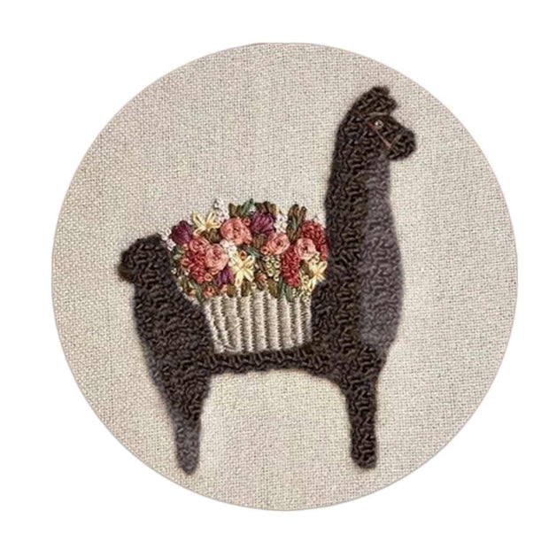 DIY Hand embroidery for beginners WIth 15 x 15cm Frame - Sweetheart Alpaca