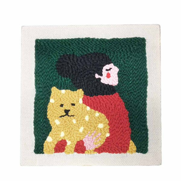 Dog and Girl DIY Knitting Wool Rug Hooking Punch Needle Embroidery Kit - idiypaint