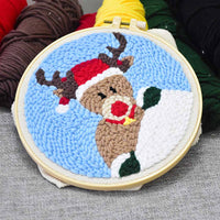 Christmas Elk DIY Knitting Wool Rug Hooking Punch Needle Embroidery Kit - idiypaint