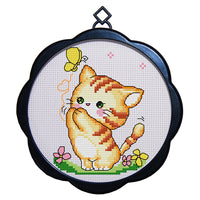 17 x 17cm 11CT 3 Strands Printing Embroidering DIY Cross Stitch Kits with Frame - Cat(Three) - idiypaint