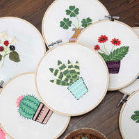 3pcs 15 x 15cm DIY Counted Cross Stitch Embroidery Starter Kit with Hoop - idiypaint