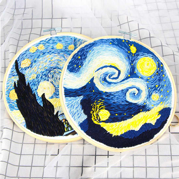 DIY Punch Needle Rug Hooking Kit Knitting Wool with  Embroidery Frame - Starry Sky 1