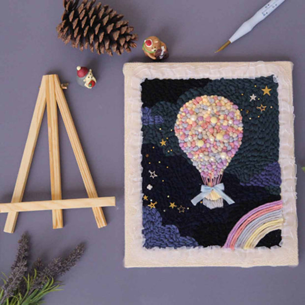 DIY Punch Needle Rug Hooking kit Knitting Wool with Scissor A-frame Wooden Frame - Up - idiypaint