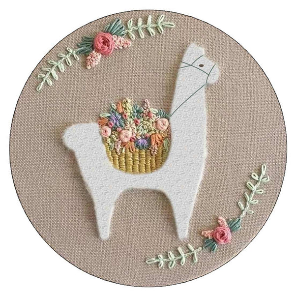 DIY Punch Needle Rug Hooking Kit Knitting Wool WIth 15 x 15cm Embroidery Frame Punch Needle - Aromatic Alpaca