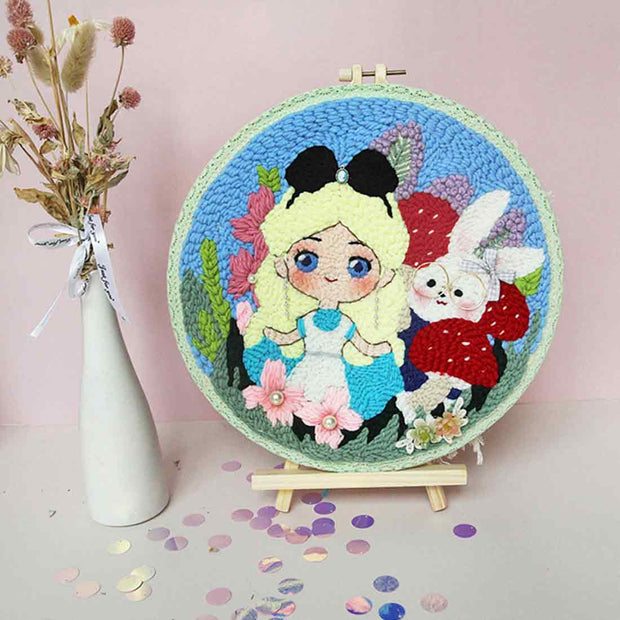 DIY Knitting Wool Rug Hooking Kit Handcraft Woolen Embroidery Creative Gift with 20cm Embroidery Frame Poke Needle Tripod Stand - Alice