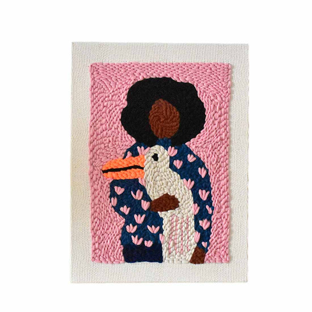 DIY Punch Needle Rug Hooking Kit Knitting Wool with Scissor A-frame Wooden Frame - Peaceful Girl - idiypaint