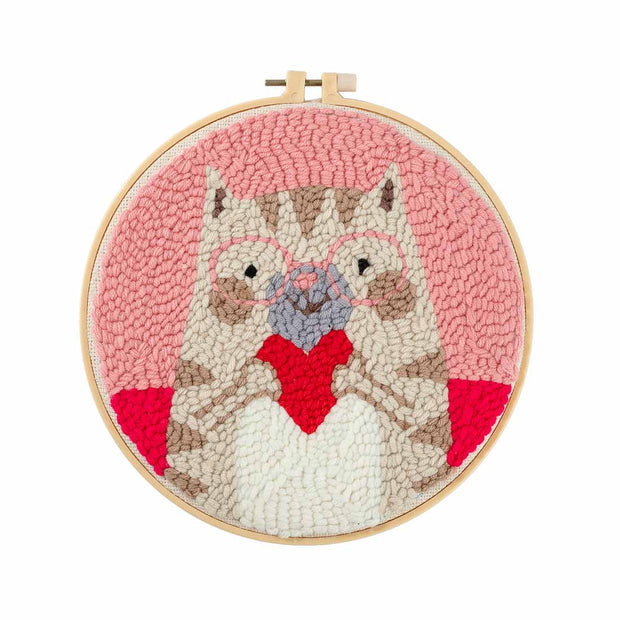 DIY Punch Needle Kit Handcraft Woolen Embroidery Creative Gift with 21cm Frame  -Heart Owl