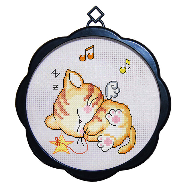 17 x 17cm 11CT 3 Strands Printing Embroidering DIY Cross Stitch Kits with Frame - Cat(Six) - idiypaint