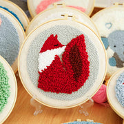 DIY Punch Needle Kit Handcraft Creative Gift with Embroidery Frame -Little Fox
