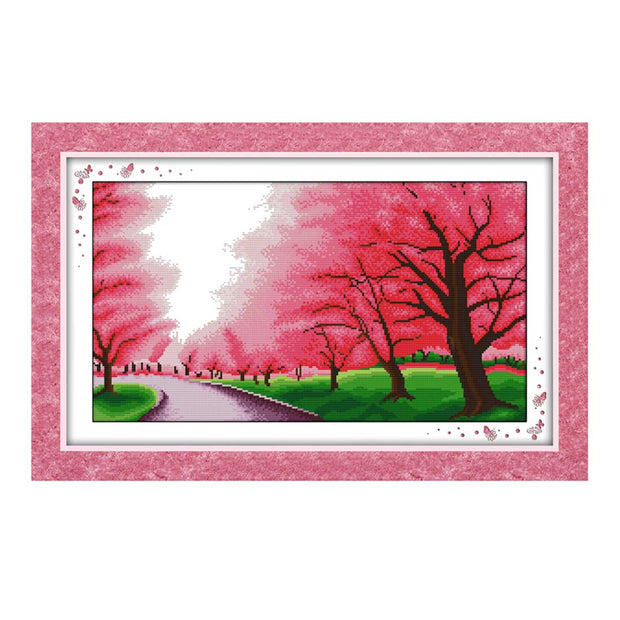 Romantic Cherry Blossom -  DIY Cross Stitch Kits - idiypaint