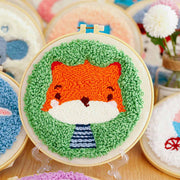 DIY Punch Needle Kit Handcraft Creative Gift with Embroidery Frame -  Little Fox