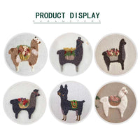 DIY Punch Needle Rug Hooking Kit Knitting Wool WIth 15 x 15cm Embroidery Frame Punch Needle - Tall Alpaca