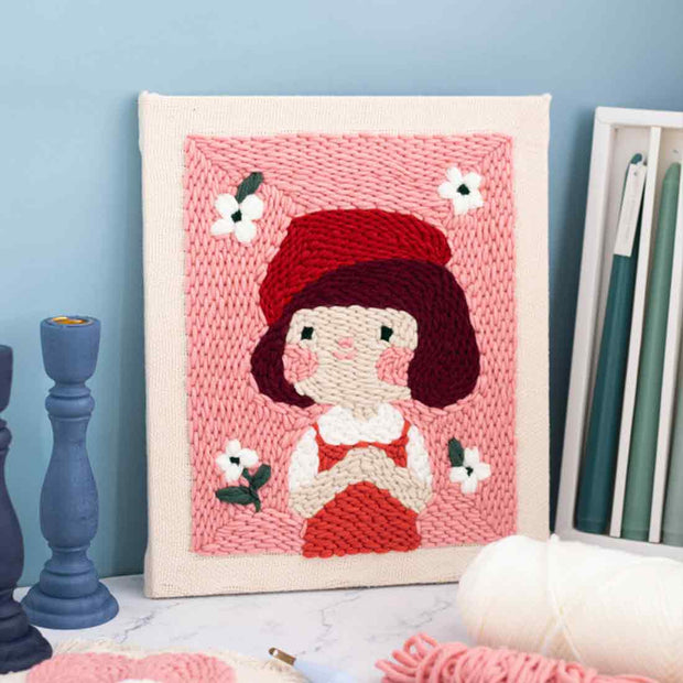 DIY Knitting Wool Rug Hooking Kit Handcraft Woolen Embroidery Creative Gift with 25 x 30cm Wooden Frame Poke Needle Tripod Stand - Little Red Riding Hood