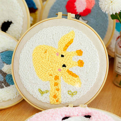 DIY Punch Needle Kit Handcraft Creative Gift with Embroidery Frame - Giraffe
