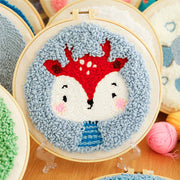 DIY Punch Needle Kit Handcraft Creative Gift with Embroidery Frame -Deer