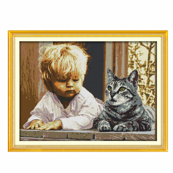 Boy and Cat -  DIY Cross Stitch Kits - idiypaint