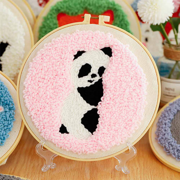 DIY Punch Needle Kit Handcraft Creative Gift with Embroidery Frame - Little Panda