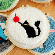 DIY Punch Needle Kit Handcraft Creative Gift with Embroidery Frame -Cat