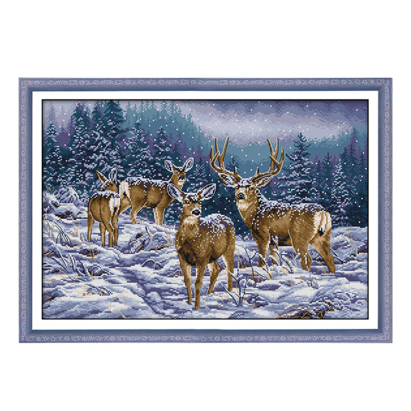 Winter Deer -  DIY Cross Stitch Kits - idiypaint