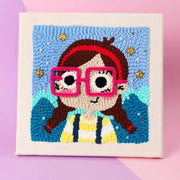 Little Girl with GlassesDIY Rug Hooking Punch Needle Embroidery Hand Craft - idiypaint