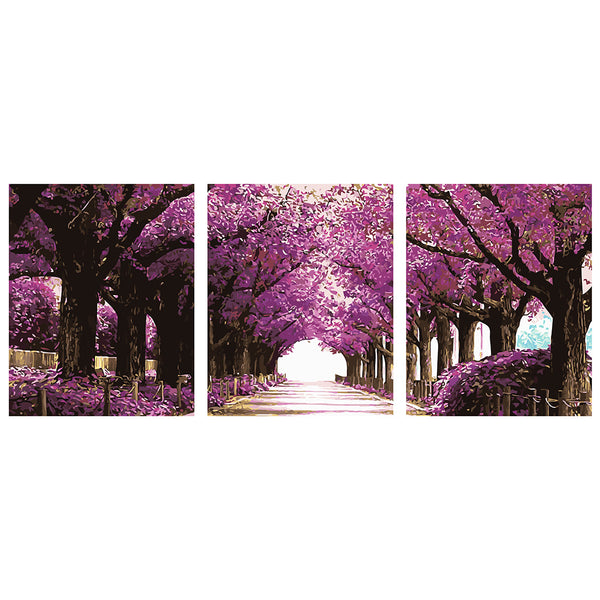3Pcs Set Romantic Avenue-40 x 50cm DIY Painting by Numbers For Adults Beginner - idiypaint