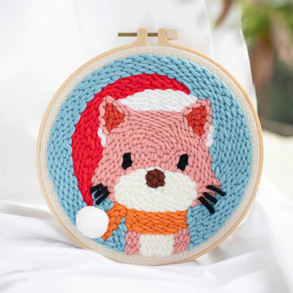 DIY Knitting Wool Rug Hooking Kit Handcraft Woolen Embroidery Creative Gift with 20cm Embroidery Frame Poke Needle - Fox