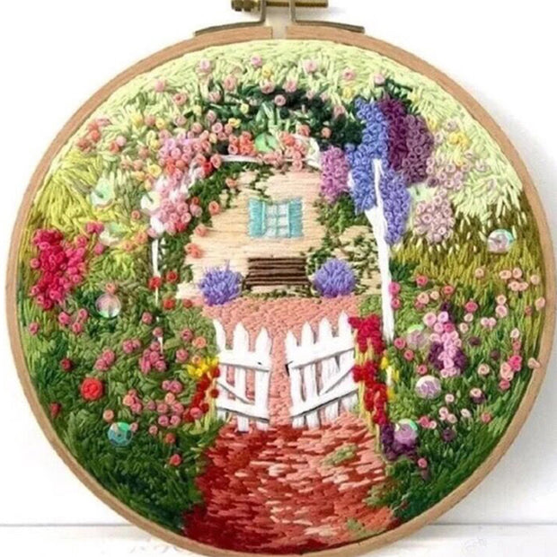 DIY Handmade Embroidery Creative Craft with  Hoop - Afternoon Garden