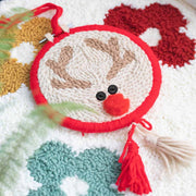 DIY Punch Needle Rug Hooking Kit Knitting Wool WIth 5cm Imitation Bamboo Embroidery  Frame-Reindeer Ornament